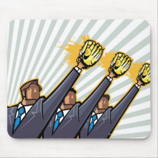 Business people wearing baseball glove mouse pad
