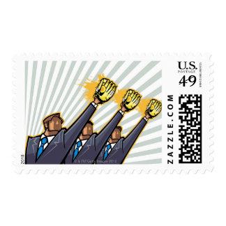 Business people wearing baseball glove postage
