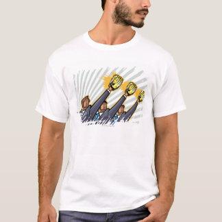 Business people wearing baseball glove T-Shirt