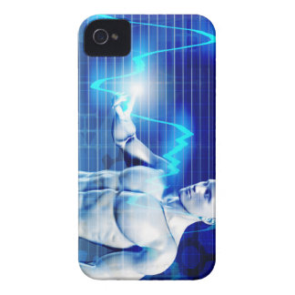 Business Person Touching Active Charts and Diagram iPhone 4 Case