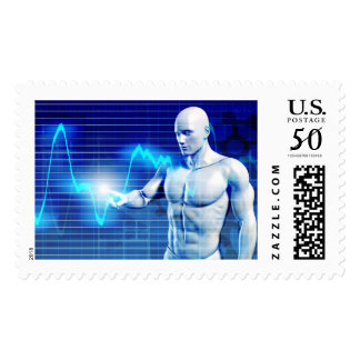 Business Person Touching Active Charts and Diagram Postage