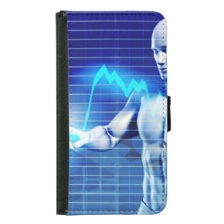 Business Person Touching Active Charts and Diagram Samsung Galaxy S5 Wallet Case
