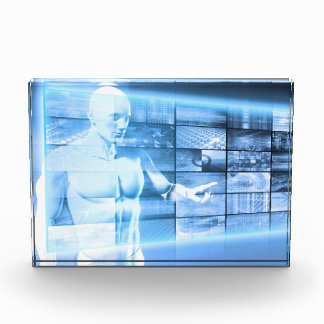 Business Person Working with Modern Virtual Techno Acrylic Award