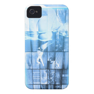 Business Person Working with Modern Virtual Techno iPhone 4 Case