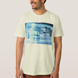 Business Person Working with Modern Virtual Techno T-Shirt