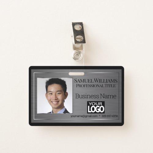 Business Photo Badge _ Black Brush Steel