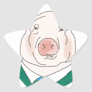 Business Pig Drawing Star Sticker