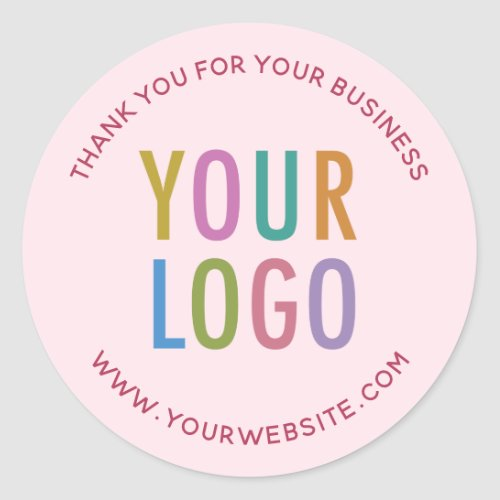 Business Pink Thank You Stickers Custom Logo Round