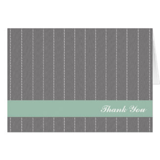 Business pinstripes gray green custom thank you cards