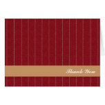 Business pinstripes maroon brown custom thank you greeting card