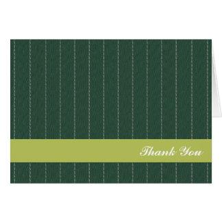 Business pinstripes pine green custom thank you card