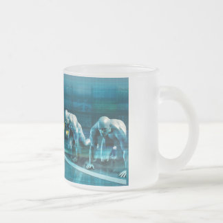 Business Planning with a Team Ready to Race Frosted Glass Coffee Mug