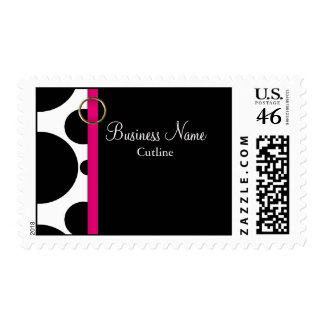 Business Postage Template Black Circles