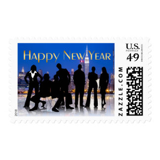 Business Professional Silhouette New Year Stamp