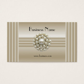 Business Profile Card Elegant Pearl Gem Deco