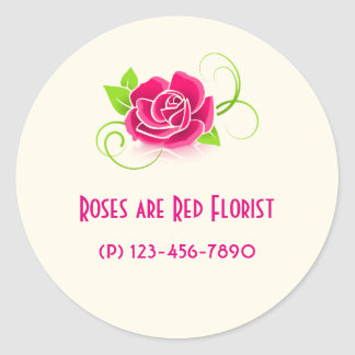 Business Promotion -  Pink Rose Classic Round Sticker