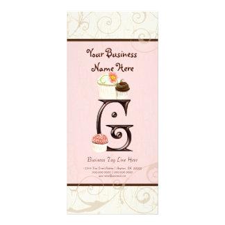 Business Rate Card - Letter G Monogram Dessert Bak Rack Card Design