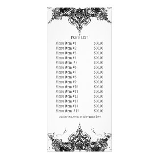 Business Rate Card - Toile Damask Swirl Floral Custom Rack Cards