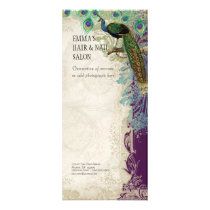 Business Rate Card Vintage Baroque Peacock Feather