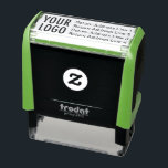 "Business Return Address with Logo Custom Self-inking Stamp<br><div class=""desc"">Easily personalize this self-inking rubber stamp with your own company logo and business return address. Rubber stamping your address saves time for you and your employees. Including your logo with your return address adds a promotional opportunity to every mail piece you send with the stamp. Available in different housing colors...</div>"
