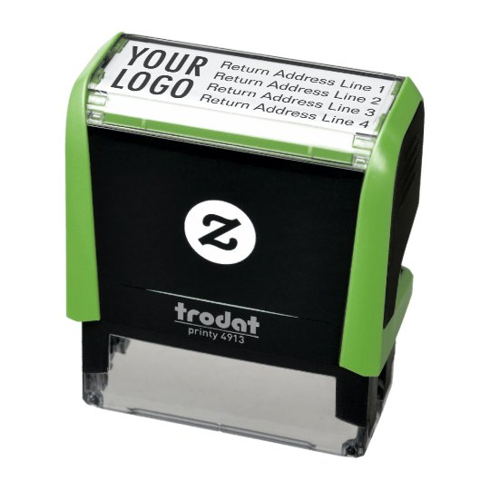 Business Return Address With Logo Custom Self Inking Stamp