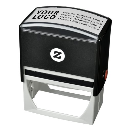 Business Return Address with Logo Large Custom Self-inking Stamp