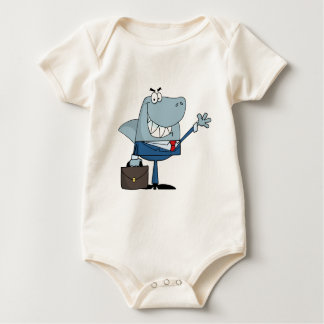 Business Shark Waving A Greeting Baby Bodysuit