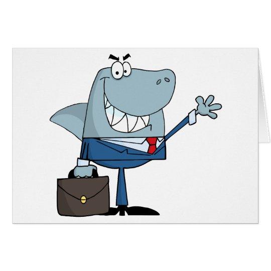Business Shark Waving A Greeting Card