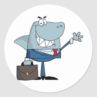 Business Shark Waving A Greeting Classic Round Sticker