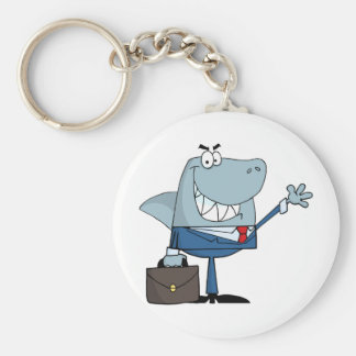 Business Shark Waving A Greeting Keychain