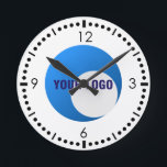"""Business Sport Logo Template Round Clock<br><div class=""""desc"""">Business Sport Logo Template Wall Clock.Customize and personalize to add the logo of your business, company,  sports team,  store,  society,  fraternity, club, non-profit or any organization that you belong. Choose from two sizes of round and a square wall clock carrying this logo design template.</div>"""