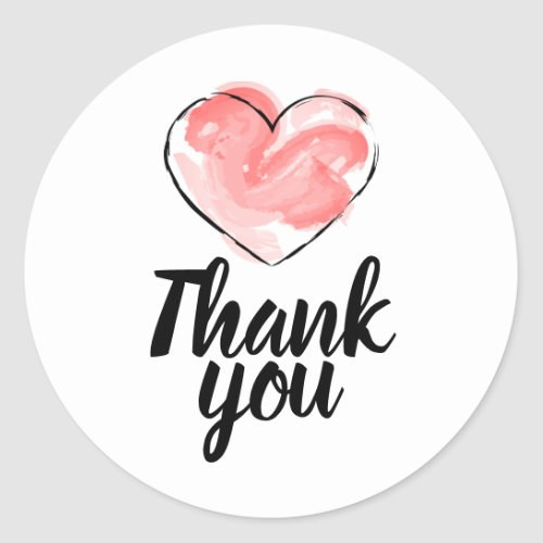 Business stickers thank you with red heart classic round sticker