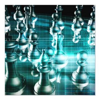 Business Strategy with a Chess Board Concept Card