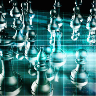 Business Strategy with a Chess Board Concept Statuette