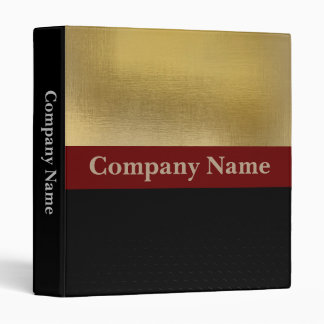 Business stylish gold and black customisable logo 3 ring binder