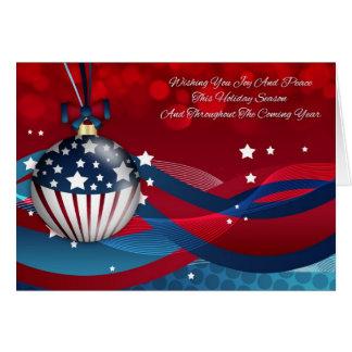 Business Stylish Holiday Season With Flag Ornament Card