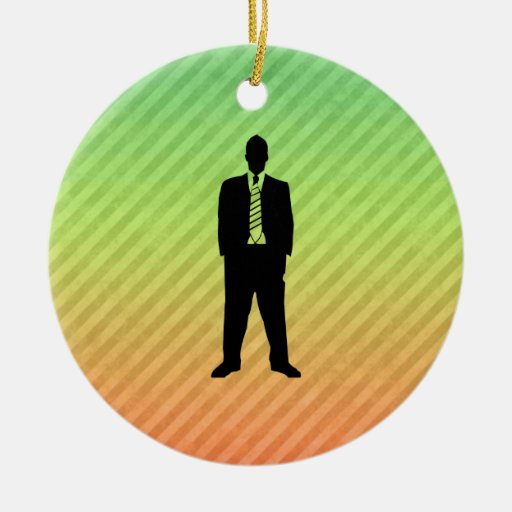 Business Suit Double-Sided Ceramic Round Christmas Ornament