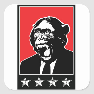 Business Suite Chimpanzee Square Sticker
