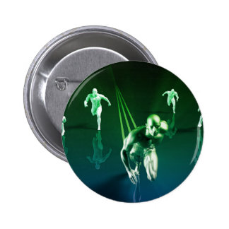 Business Technology Concept on Worldwide Report Vi Pinback Button