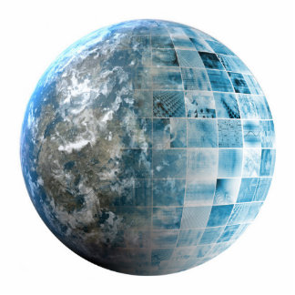 Business Technology Global Network with Futuristic Cutout