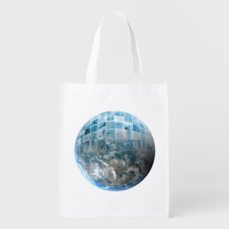 Business Technology Global Network with Futuristic Grocery Bag