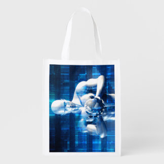 Business Technology Global Network with Futuristic Grocery Bags