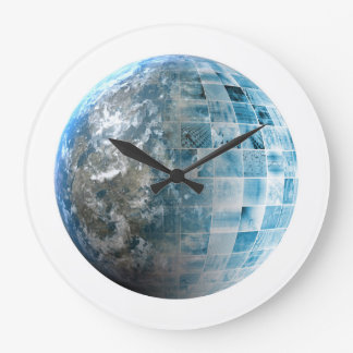Business Technology Global Network with Futuristic Large Clock