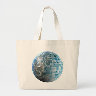 Business Technology Global Network with Futuristic Large Tote Bag