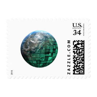 Business Technology Global Network with Futuristic Postage