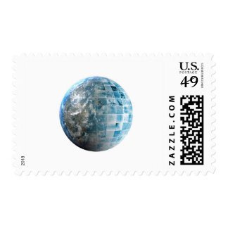Business Technology Global Network with Futuristic Stamp