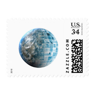 Business Technology Global Network with Futuristic Postage Stamp