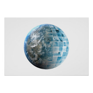 Business Technology Global Network with Futuristic Poster
