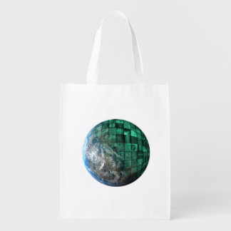 Business Technology Global Network with Futuristic Reusable Grocery Bag