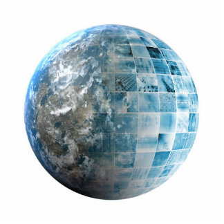 Business Technology Global Network with Futuristic Statuette